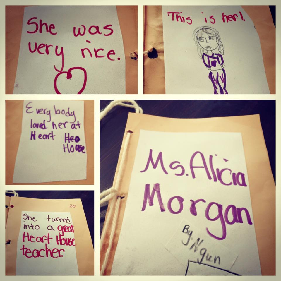 Heart House student notes for Alicia Morgan