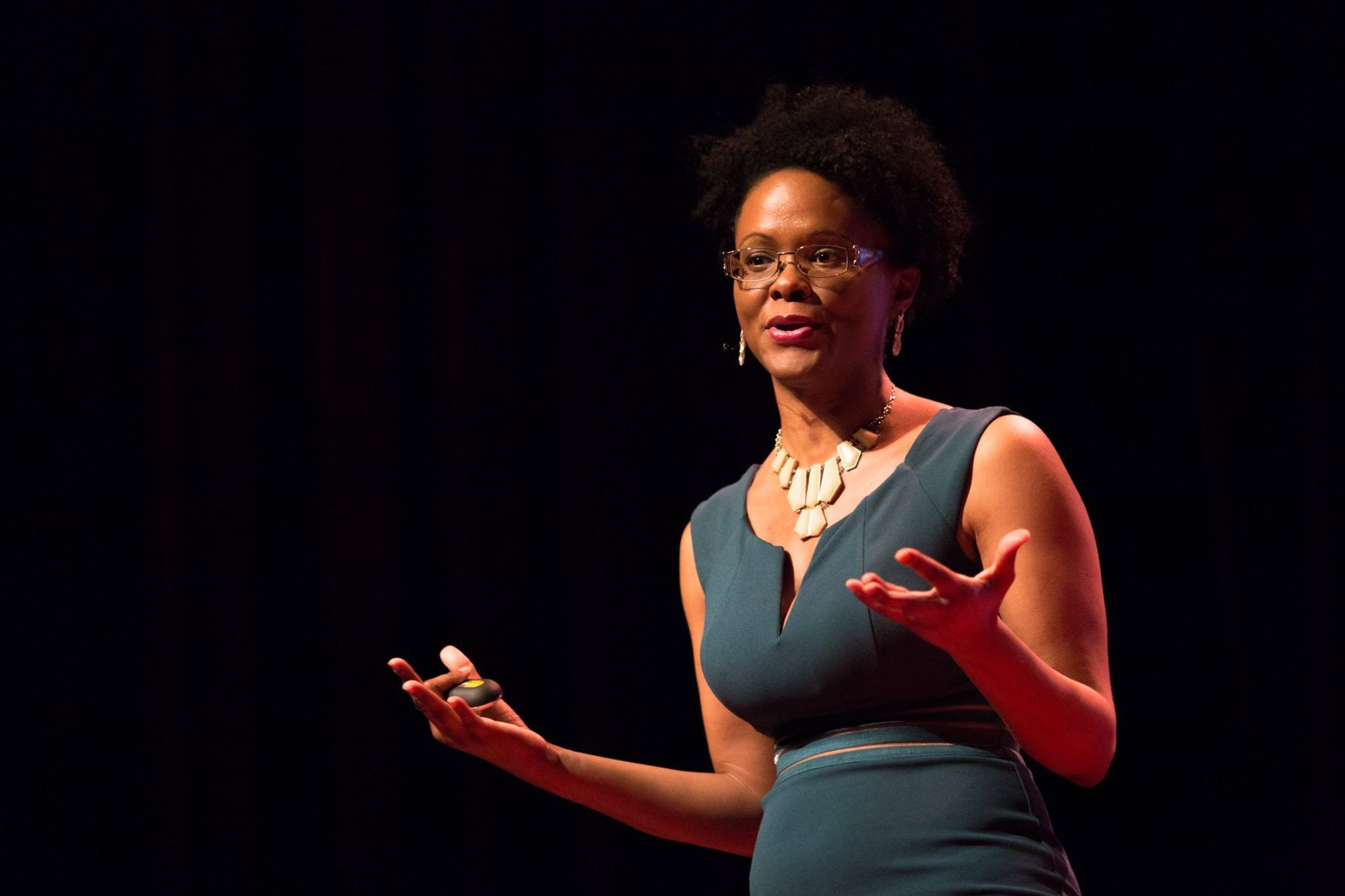 Alicia M Morgan delivering TEDx talk in Plano Texas